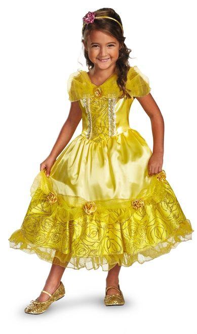 Girls Belle Costume Kids Disney Princess Fancy Dress Fairytale Licensed Dressup