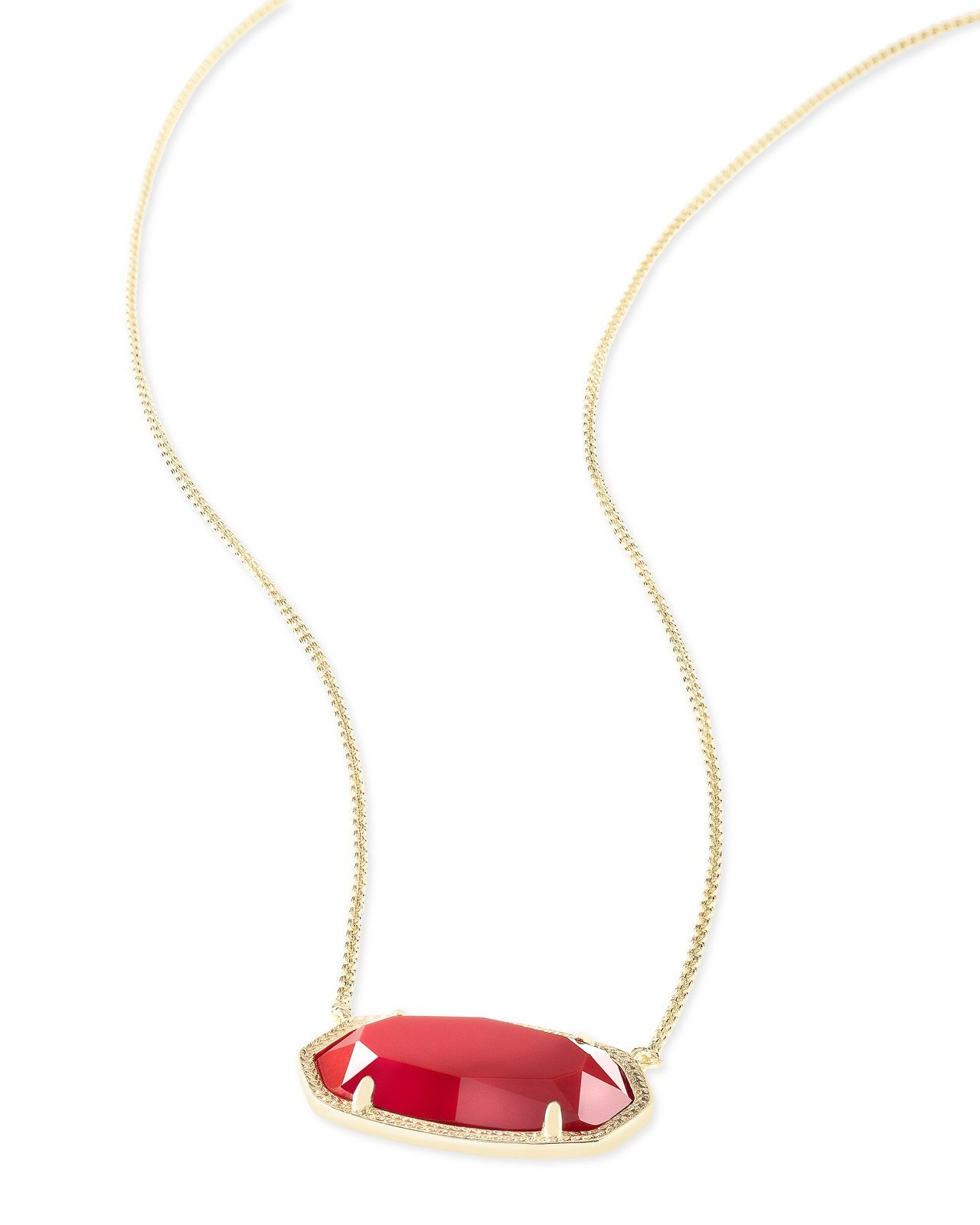 Kendra scott elisa oval pendant necklace in red and gold plated