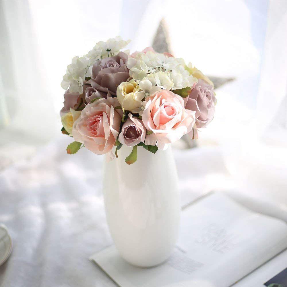 18 Heads Artificial Flowers Roses Bouquet Silk Fake Vase Home Wedding Decor