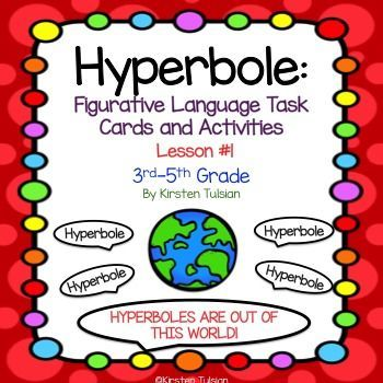 Hyperbole Activities and Task Cards Sentences, Common cores and - figure of speech example template