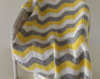 Yellow, white and grey chevron baby blanket