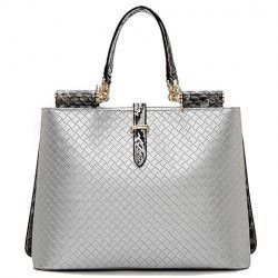 ab2952542384 Trendy Woven Pattern and Snake Print Design Women s Tote Bag ...