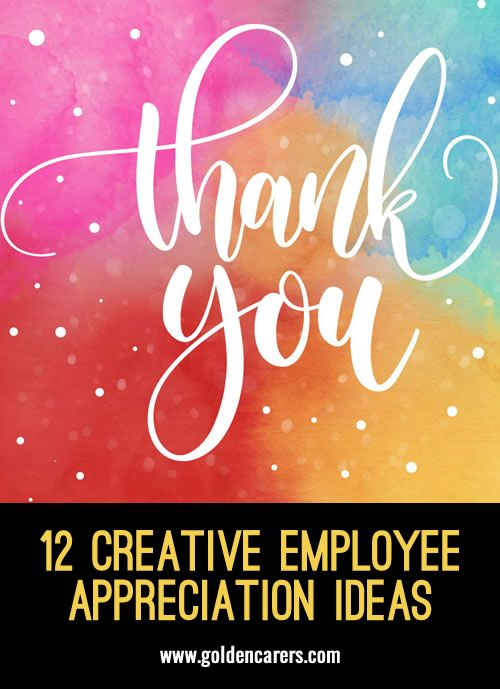 12 Creative Employee Appreciation Ideas: Employee recognition is all about acknowledging the dedication and hard work of individuals and teams. It's about making people feel appreciated and letting them know that without them you would be worse off.