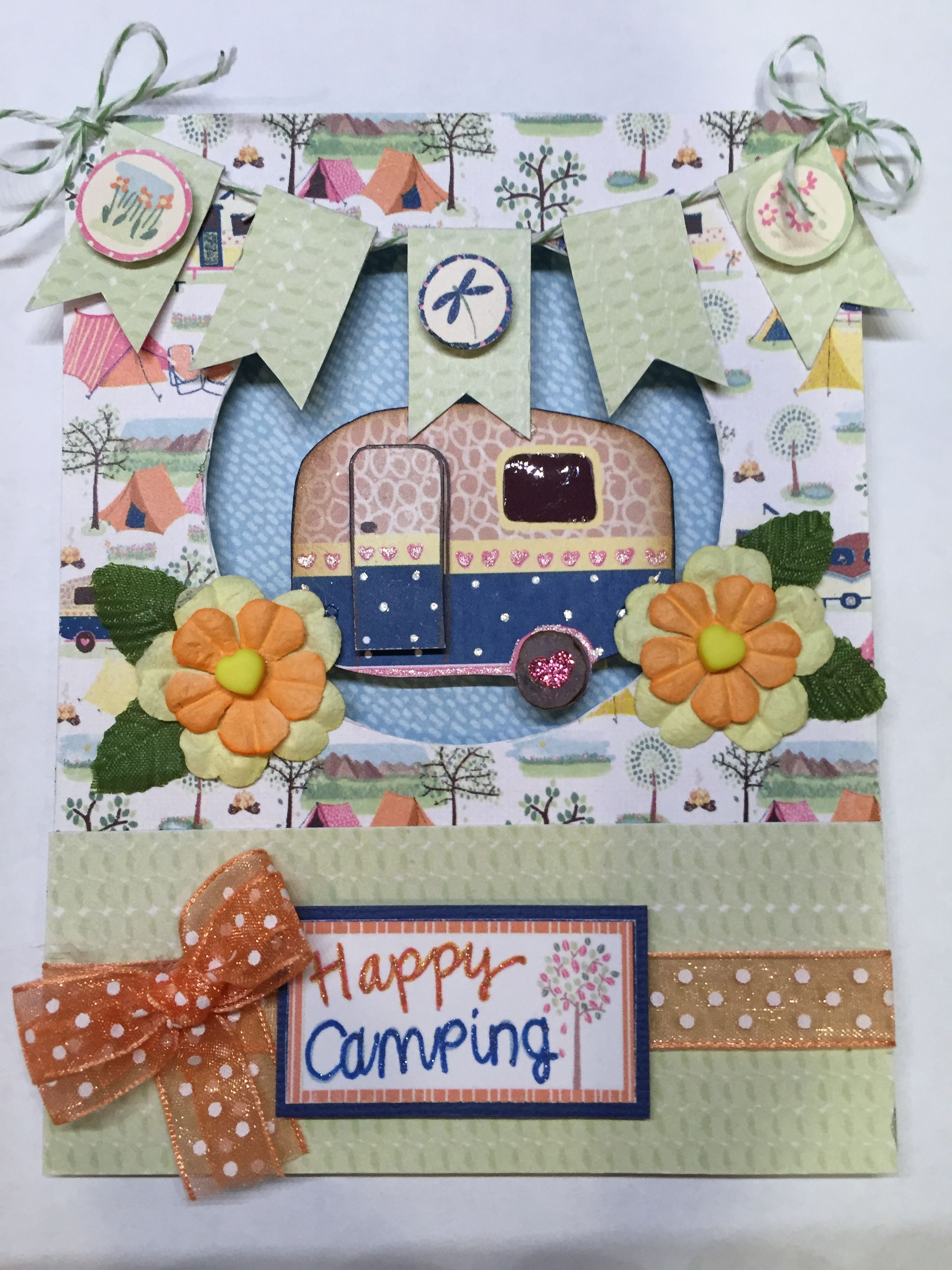 camper card made with free printable camping themed paper on this rh pinterest com