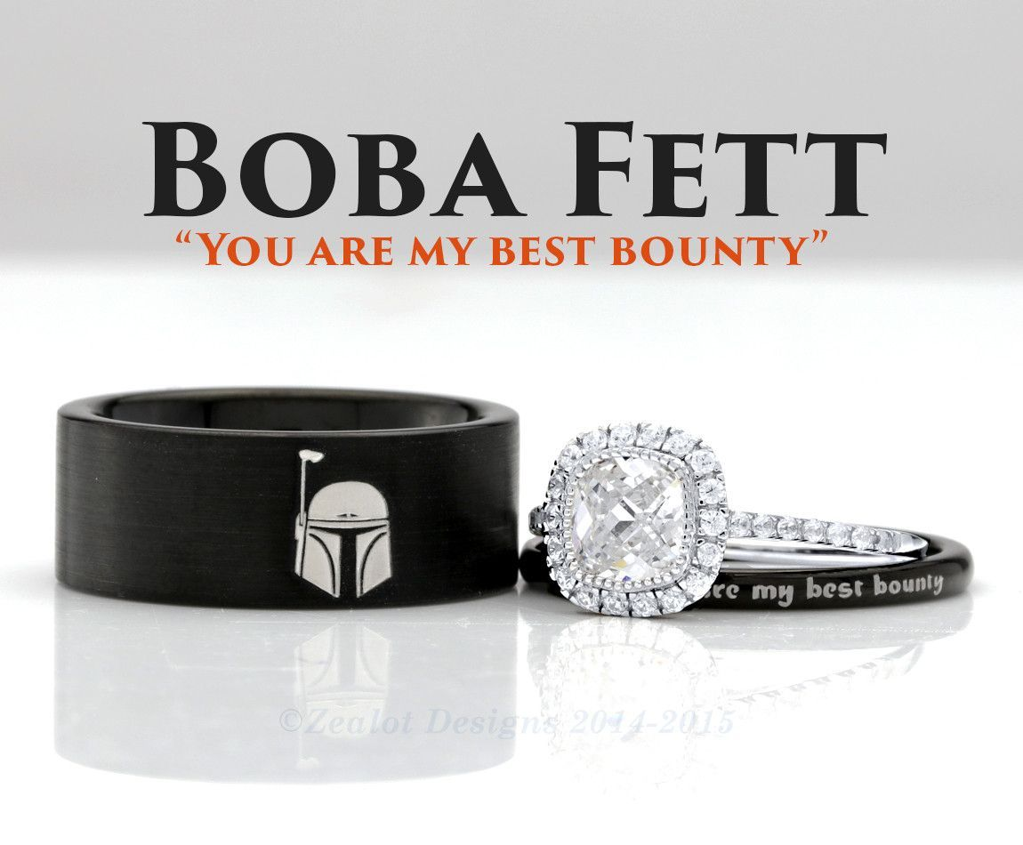 Star Wars Boba Fett His And Her's 3piece Silver Custom Engagement Set  Tungsten Wedding Band Ring