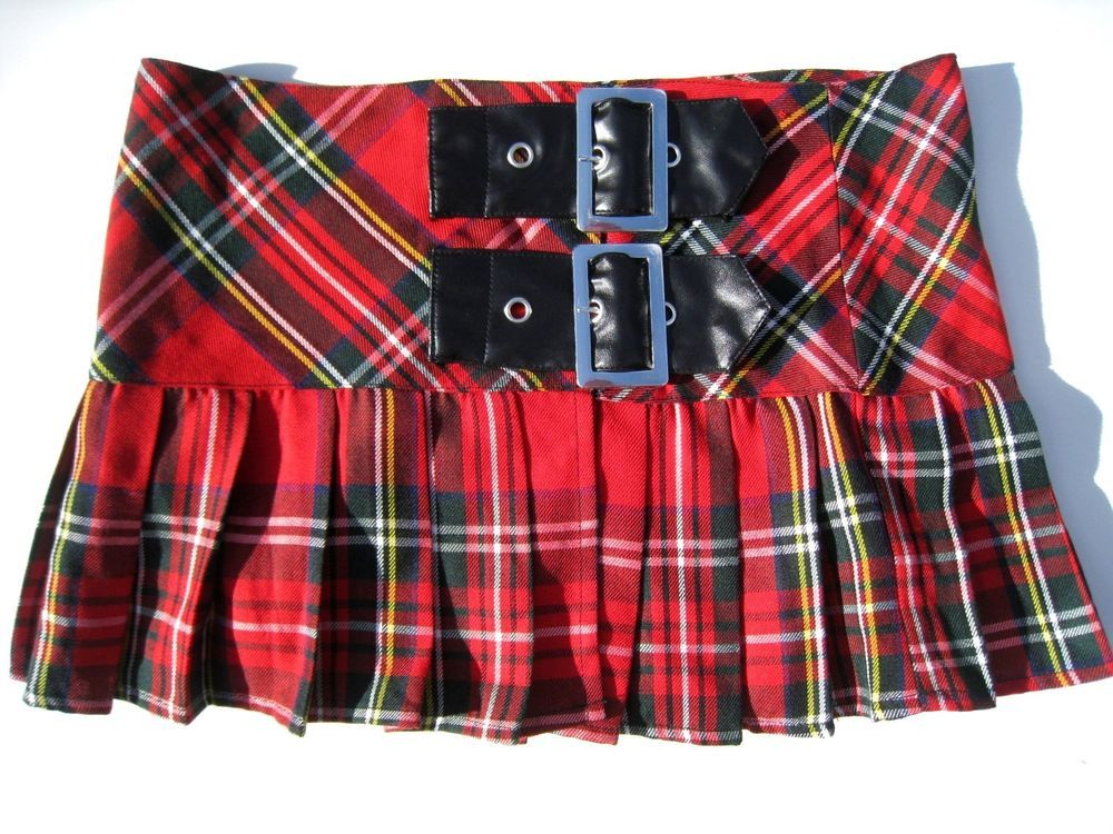 639b0513069ac Hell Bunny Sexy Schoolgirl Skirt Hot Topic Punk Goth Red Black Plaid Pleated  S  HellBunny  Pleated