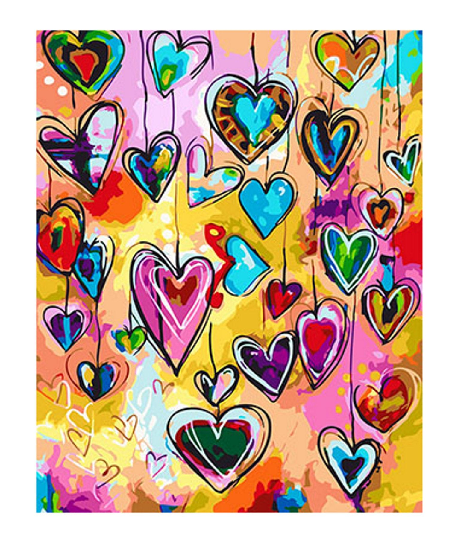 Heart Paint by Number Kit, Happy Heart Colorful DIY Kit