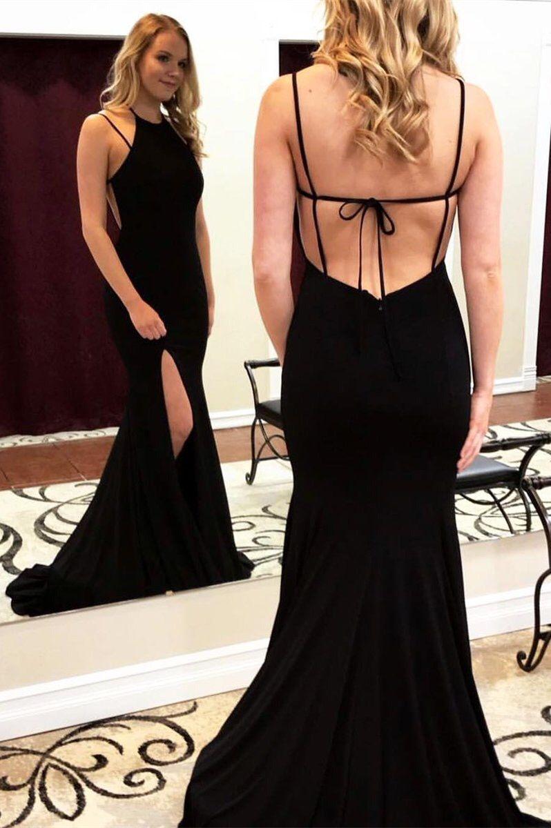 Mermaid crew backless sweep train black prom dress with split