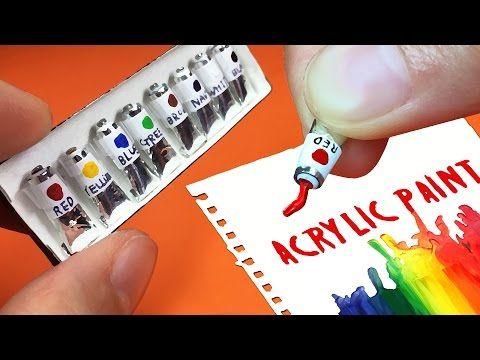 미니어쳐 진짜 아크릴물감 세트 만들기 miniature Acrylic paint set tutorial ミニアチュア アクリル絵具 - YouTube