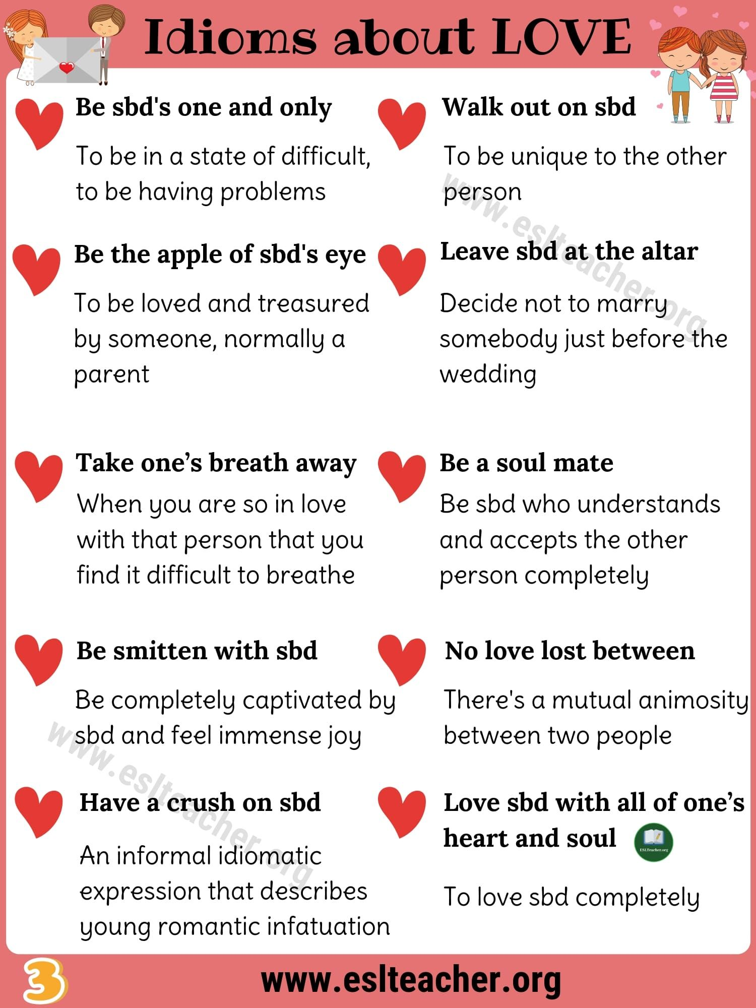 Love Idioms 32 Fantastic Idioms About Love In English
