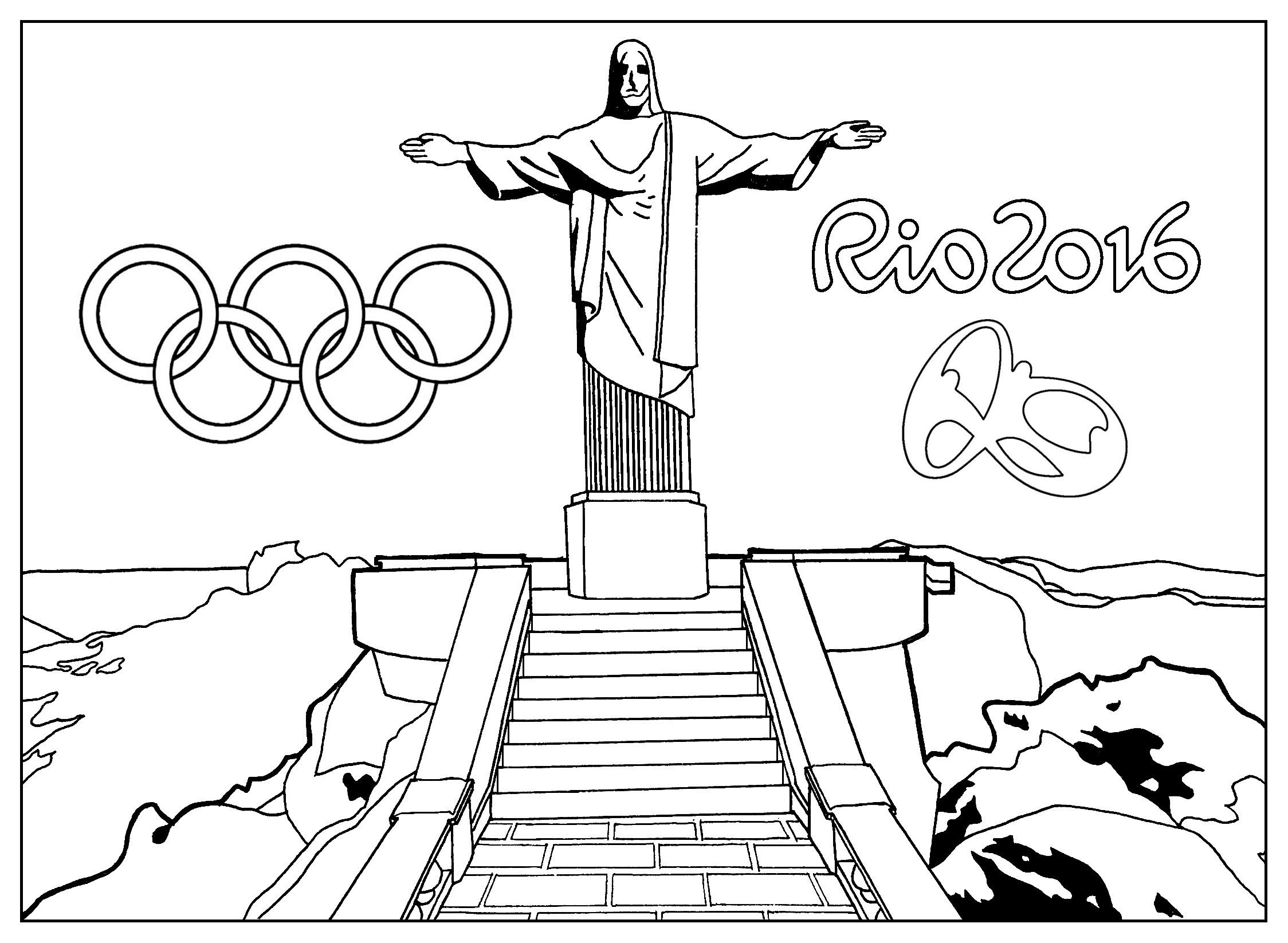 Free Coloring Page Coloring Adult Rio 2016 Olympic Games Christ