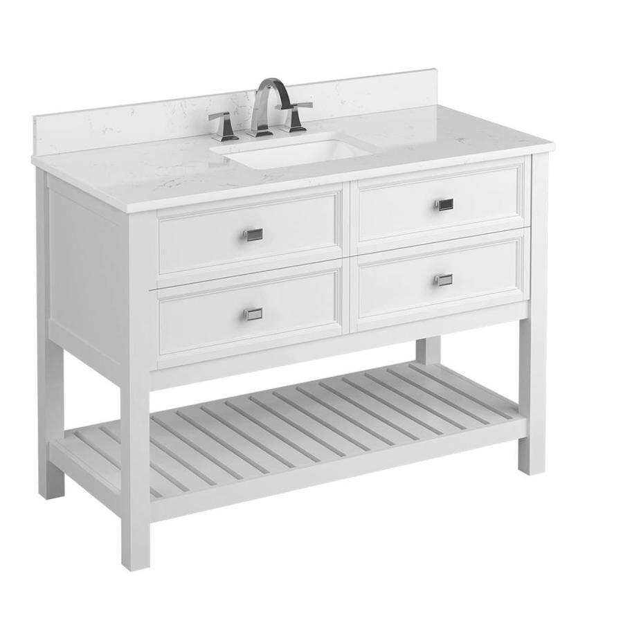 Scott Living Canterbury 48 In White Single Sink Bathroom Vanity With Carrara Engineered Bathroom Sink Vanity White Vanity Bathroom Single Sink Bathroom Vanity