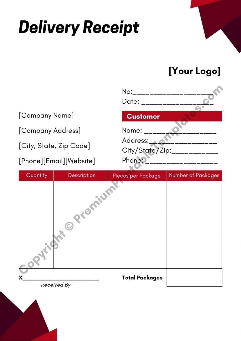 Delivery Receipt Template Pack Of 5 Premium Printable Templates Receipt Template Template Printable Receipt