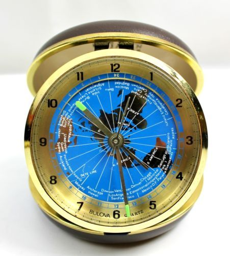 Vintage bulova quartz revolving blue world map time zone travel vintage bulova quartz revolving blue world map time zone travel alarm clock ebay gumiabroncs Image collections