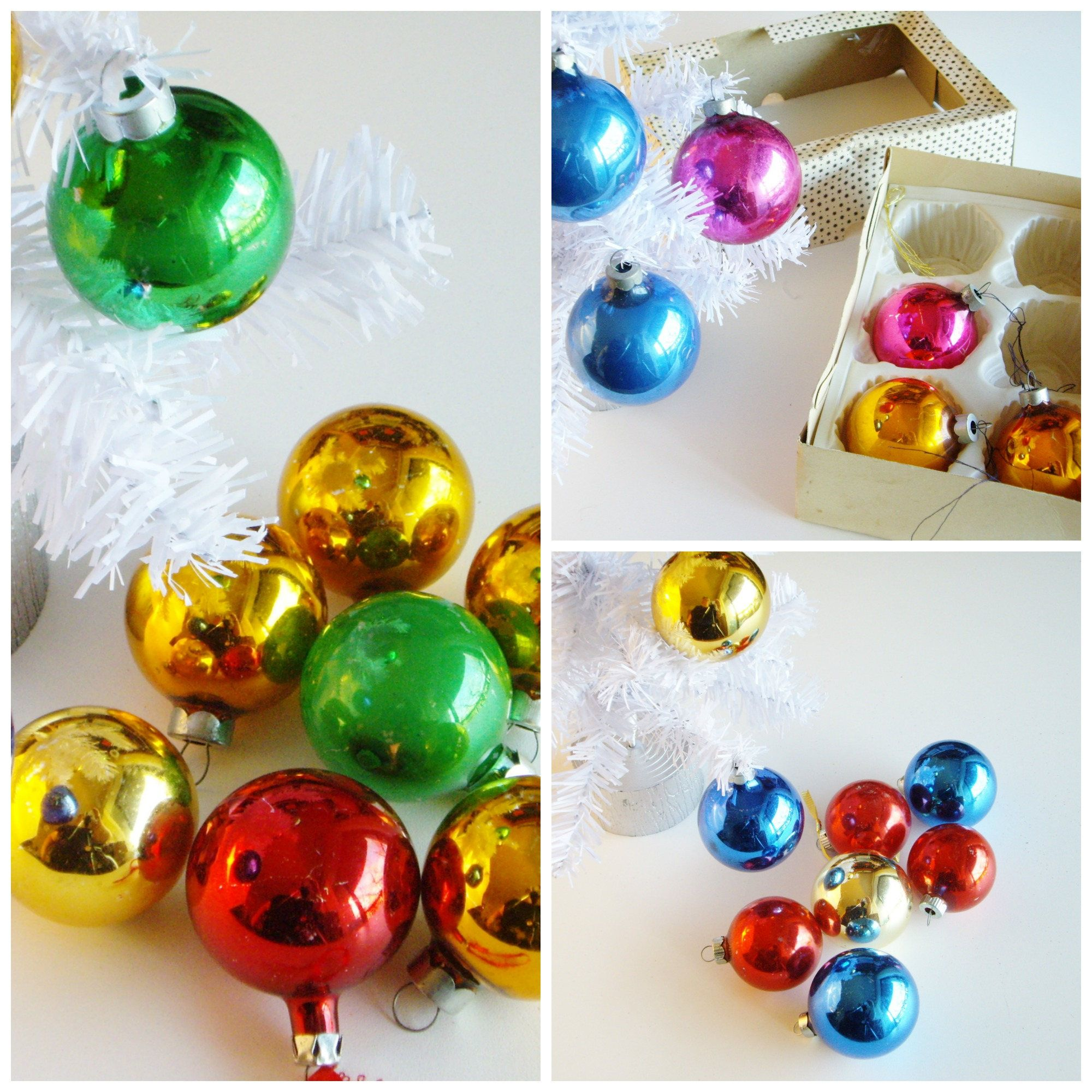 Vintage Glass Christmas Balls Tree Decorations Set Of 24 Lass Ornaments Tree Ornaments Mixed Colors Glass Christmas Balls Shabby Christmas Christmas Balls
