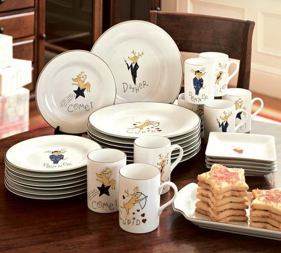 Santa's Reindeer Dinner Plates, Set of 4 Assorted