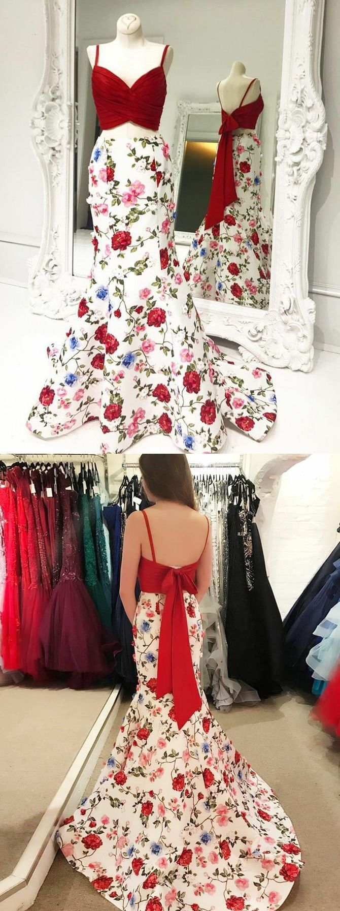 Mermaid prom dresses spaghetti straps floral print long prom dress