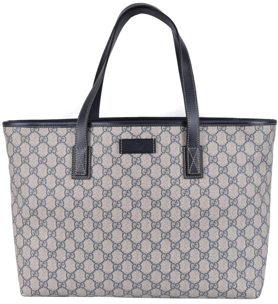 df5285fec67 NEW Gucci 211137 Beige Blue GG Supreme Coated Canvas Purse Handbag Tote   Gucci  TotesShoppers