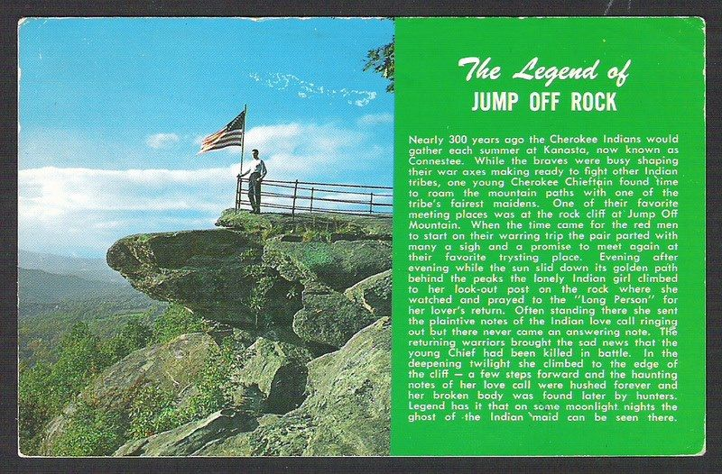 Legend of jump off rock just up the hill from where my