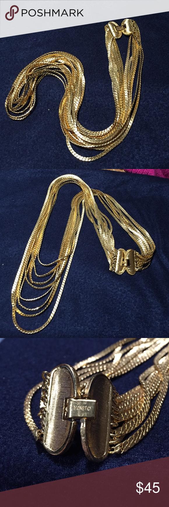 Vintage 80s Monet 8 strand brushed gold necklace Vintage 80s Monet