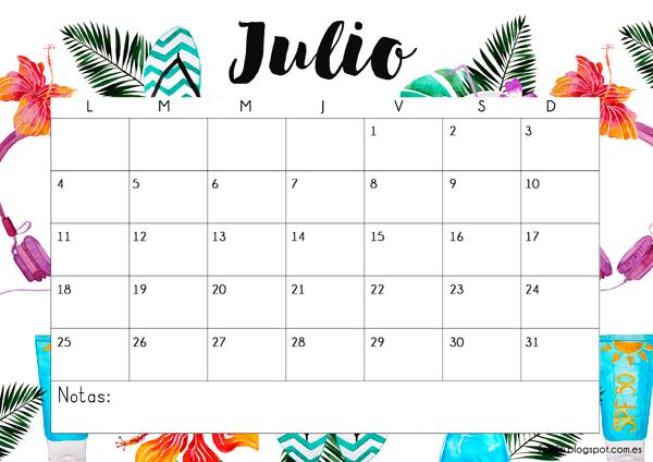 Calendario gratuitos descargable e impimible julio 2016 #printable #calender #free