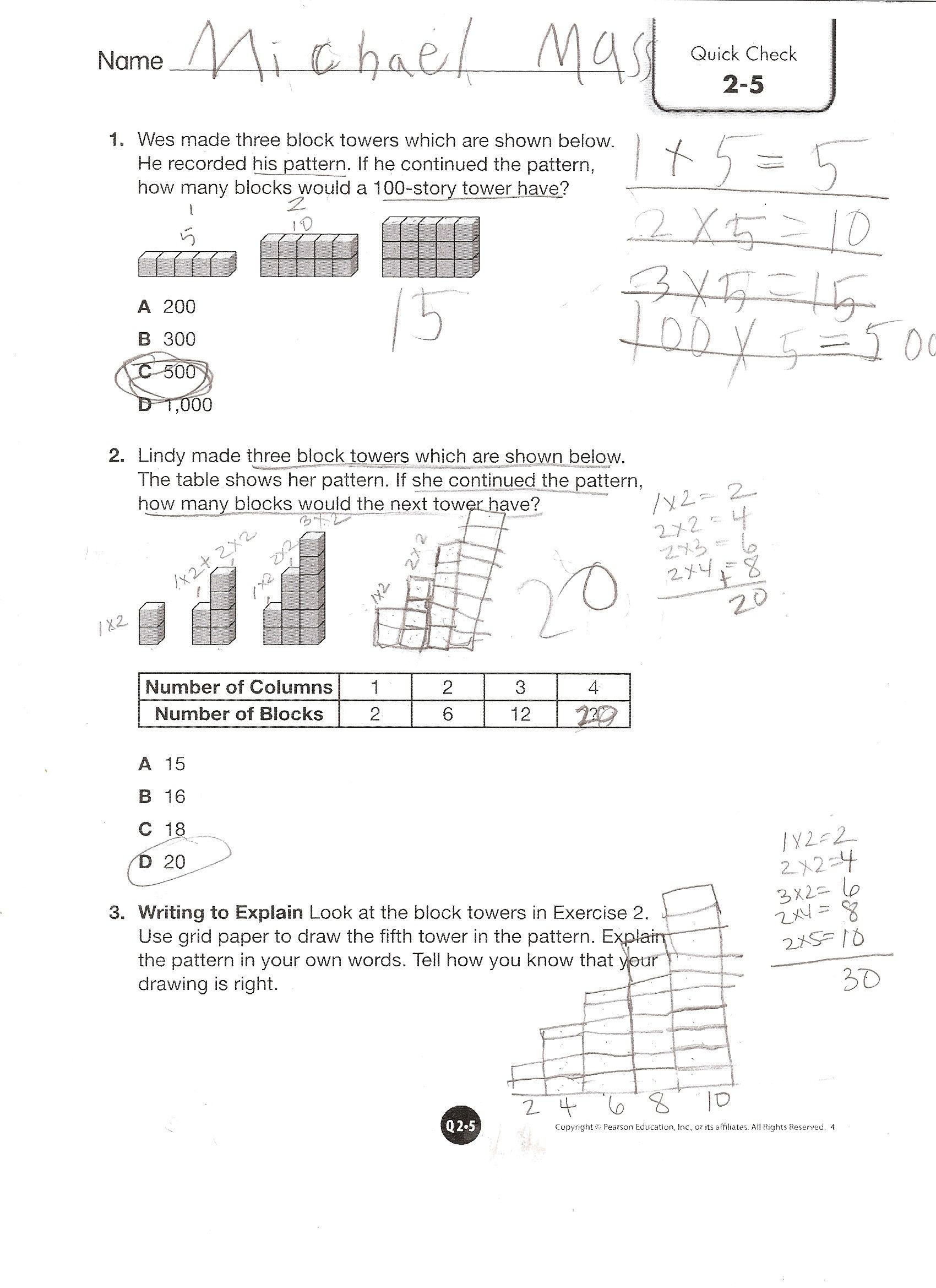 En Vision Math Worksheet
