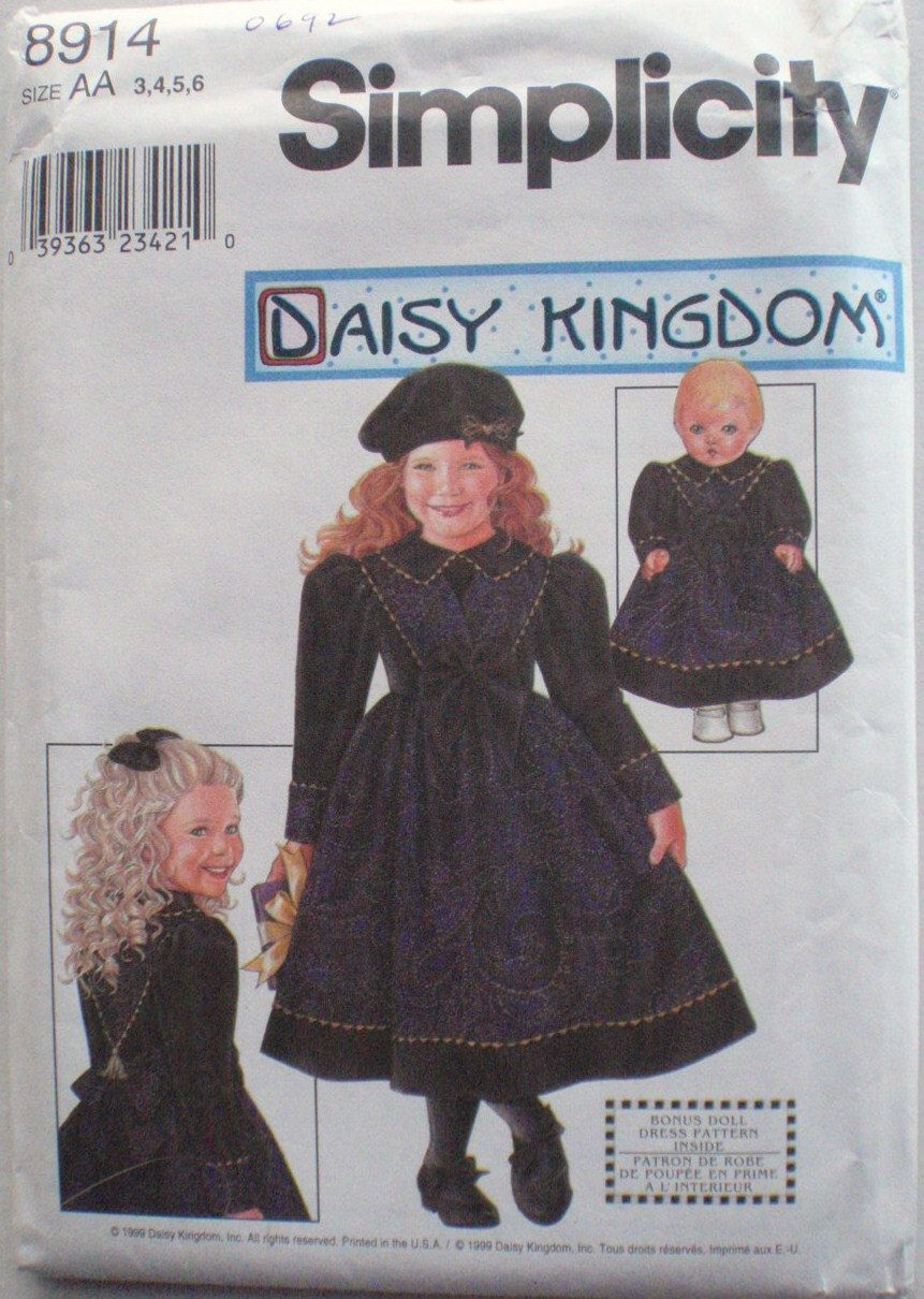 """Little Girl's Daisy Kingdom Dress and Doll Dress for 18"""" Doll Sewing Pattern - Simplicity 8914 - Sizes 3-4-5-6, Breast 22 - 25 by Shelleyville on Etsy"""