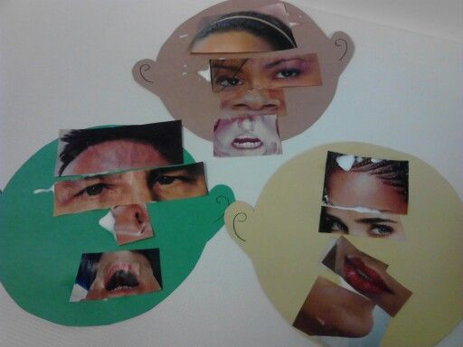 """""""Funny Faces"""" Materials needed: old magazines, Construction paper faces, different parts of the face cut out from magazines or catalouges in different sizes & colors, glue.  Give each child a paper face and allow them to glue on the different parts of the face onto the paper faces."""
