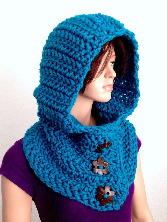 Crochet Hooded Cowl in Electric Blue/ Winter Hooded Neck warmer ...