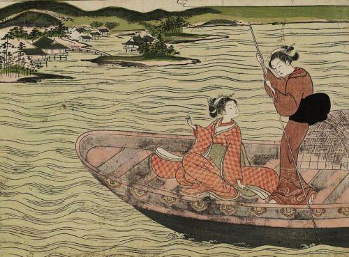 blackcoffeecinnamon:  thekimonogallery:  Two Women on a Boat....