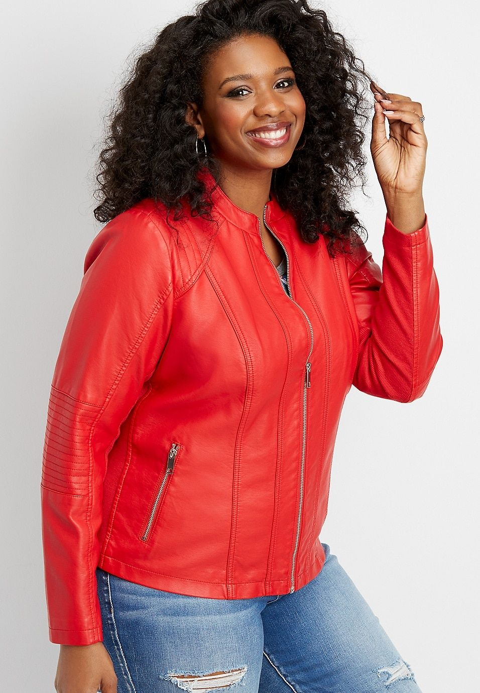 Plus Size Red Faux Leather Jacket Jackets Leather Jacket Faux Leather Jackets [ 1380 x 956 Pixel ]