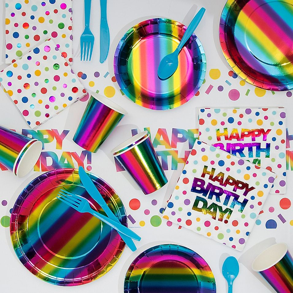 Creative Converting 81Piece Rainbow Party Supplies Kit Multi - Rainbow birthday party, Rainbow party supplies, Rainbow birthday, Party kit, Party supply kits, Birthday party kits - Creative Converting 81Piece Rainbow Party Supplies Kit Multi  Celebrate your next birthday in eyecatching style with Creative Converting's 81Piece Rainbow Party Kit  Including everything you need for serving at party time, this kit makes set up and cleanup easy and simple