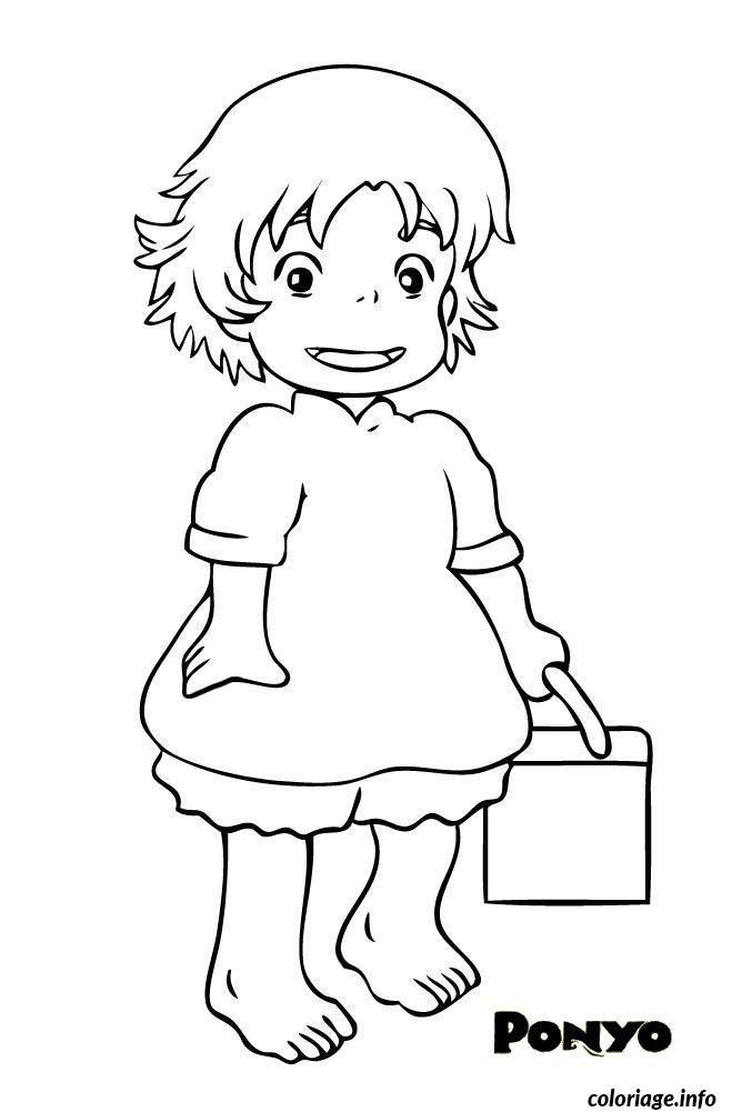 Coloriage ponyo petite fille dessin imprimer coloriages pinterest studio ghibli totoro - Coloriage ponyo ...