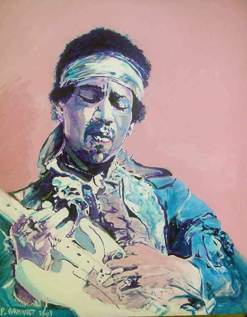 Jimi Hendrix Peinture Acrylique Sur Toile Format 33 Cm X 41 Cm