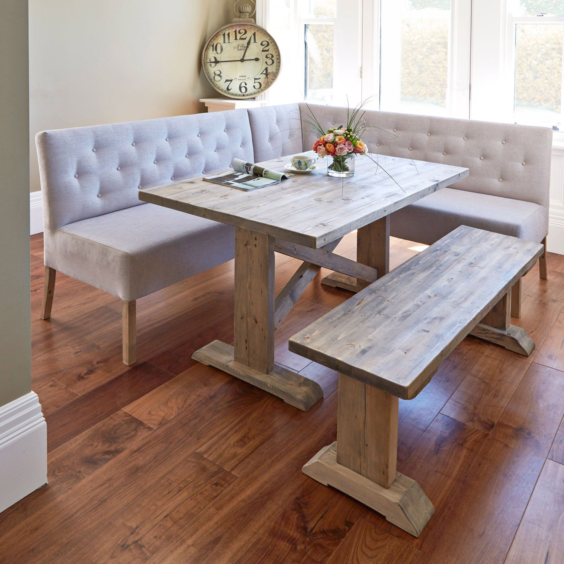 Alina Reclaimed Wood Dining Table with Left-Hand Corner & Small Bench