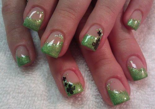 Day 77: Glittery St. Patrick's Day Nail Art
