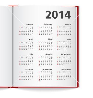 2014 Calendar In Notebook Vector Image On Calendar Template