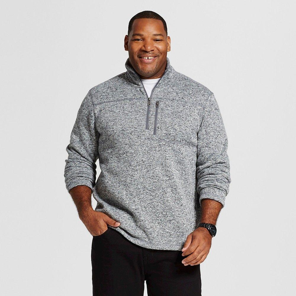 Dark blue flannel men  Menus Big u Tall Quarter Zip Fleece Sweatshirt Gray L Tall  Merona