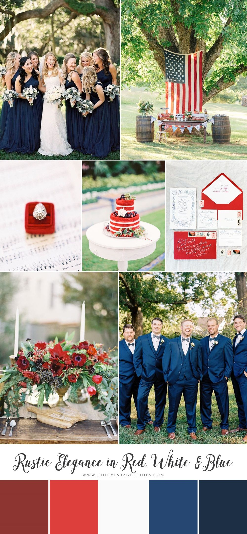 Rustic Elegance in Red, White & Blue 4th of July Wedding