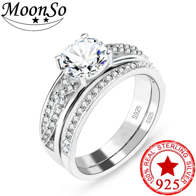 Moonso 2017 sterling silver AAA zirconia women double finger ring
