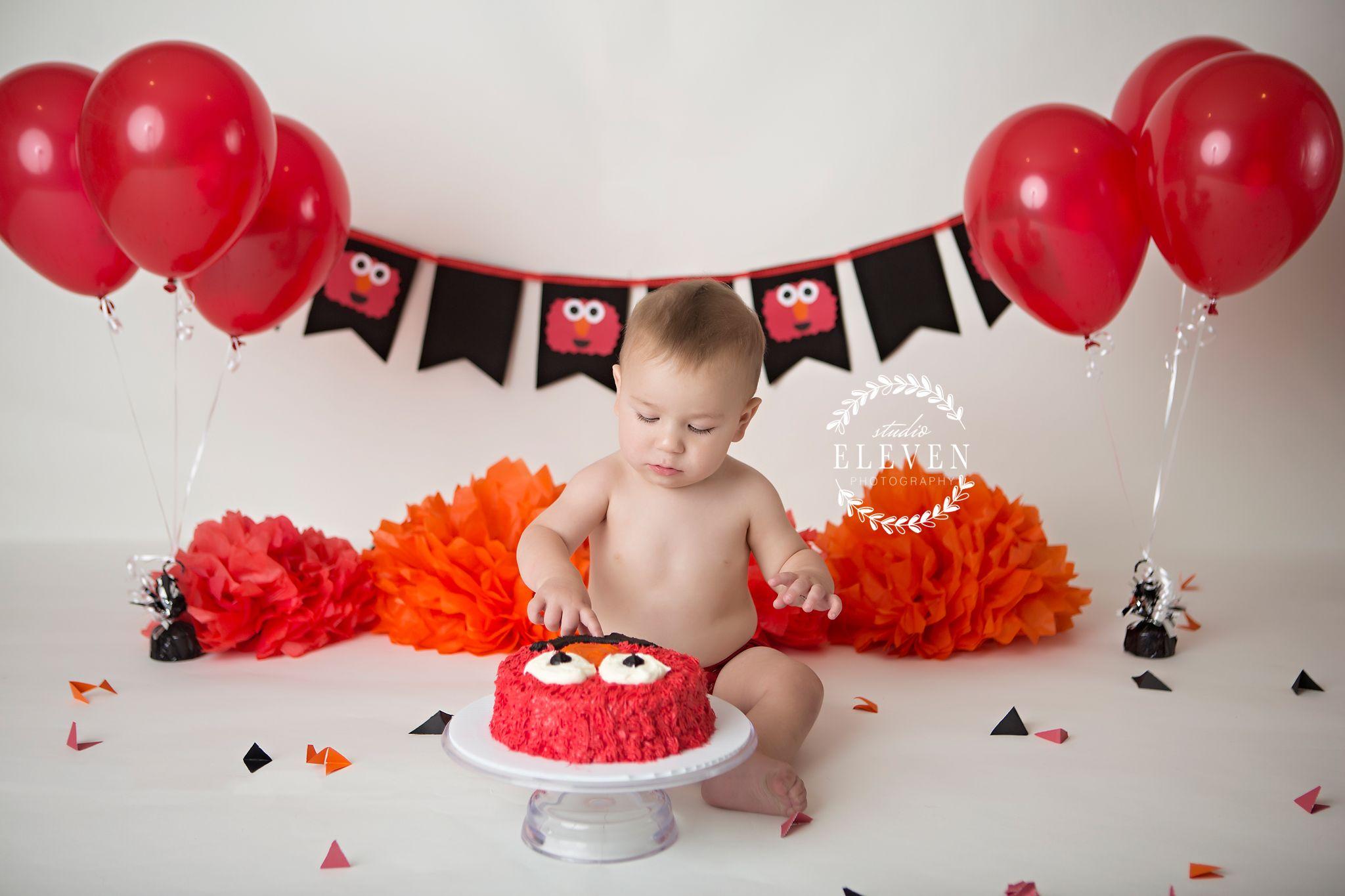 Admirable Elmo Inspired Cake Smash Set Elmo Cakesmash Studio11Photomn Birthday Cards Printable Trancafe Filternl