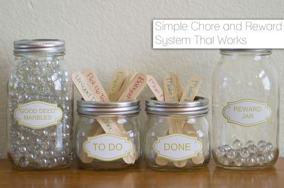 Simple Chore And Reward System As Children Complete Chores They Move The Chore Stick To The Done Jar An Kids Rewards Reward System For Kids Chores For Kids