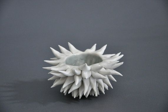 Grey Sky Micro Urchin Bowl Ceramic Porcelain by elementclaystudio