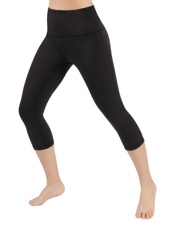 74a938e04acd61 ODODOS High Waist 18 Yoga Capris Pants Tummy Control Workout Running 4 Way  Stretch Yoga Capris LeggingsBlackLarge >>> Visit the image link more  details.