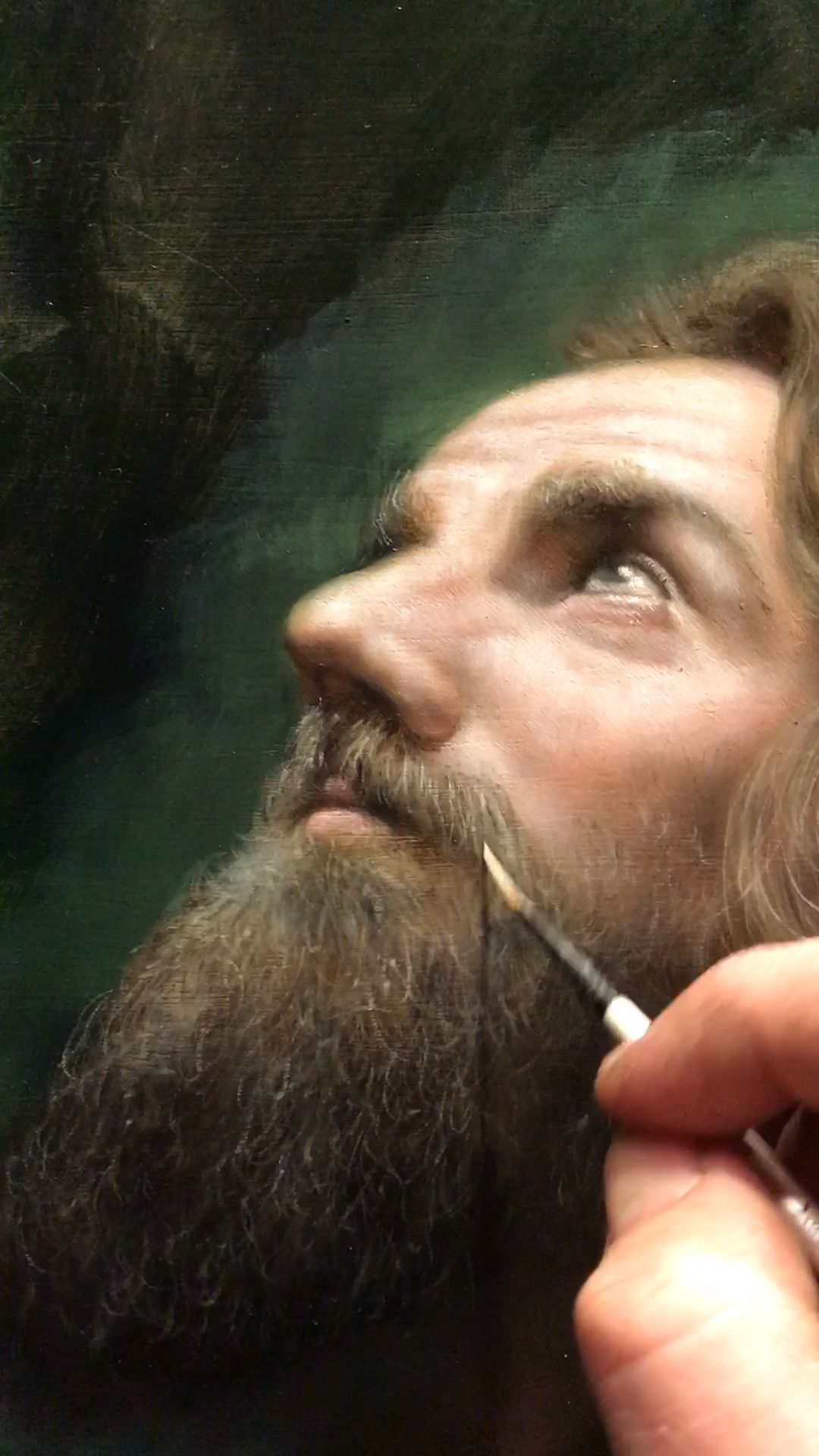 """Realistic portrait painting details of hair and face techniques and tips by classical realism artist Eric Armusik, oil paint on AlumaComp 48 x 60"""" 2018 #realistic #realism #realismart #portraitpainting #painting #paintingtips #paintingtechniques #oilpainting"""
