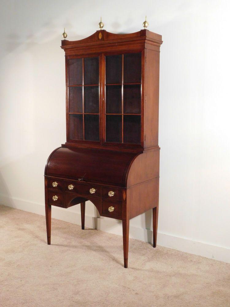 BAKER Furniture Company Manor House Mahogany Inlaid Cylinder Secretary Desk