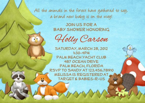 forest animals baby shower invitation forest friends printable custom invite