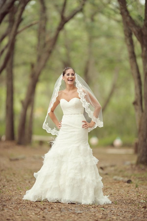 bridal portraits, ruffled lace Allure wedding dress, gorgeous lace ...