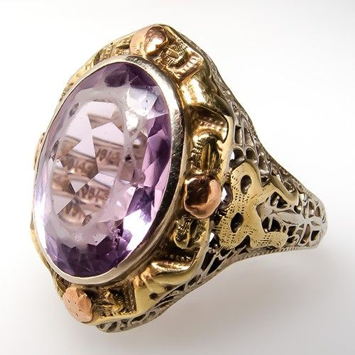 Antique Amethyst Filigree Cocktail Ring 14K White Yellow Rose Gold