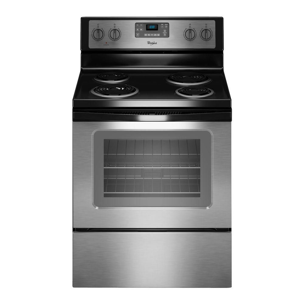 Whirlpool 4 8 Cu Ft Electric Range With Self Cleaning Oven In Black Wfc310s0eb With Images Self Cleaning Ovens Freestanding Electric Ranges Electric Range